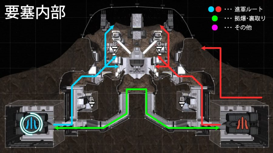 バトオペ2-要塞内部 攻略マップ