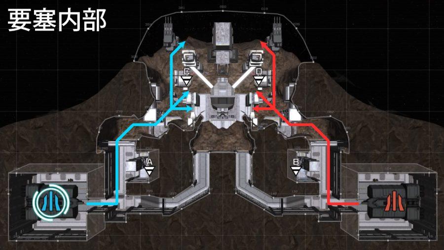バトオペ2-要塞内部 進軍ルート