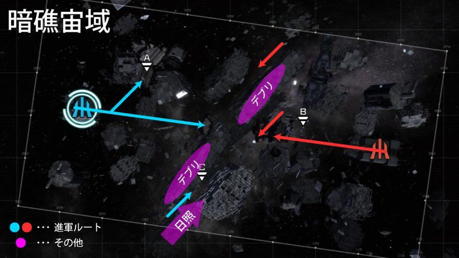 バトオペ2-暗礁宙域 攻略マップ 進軍ルート